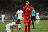 Football - 2018 FIFA World Cup - Group G: England vs. Tunisia<br /> <br /> Kyle Walker of England reacts after he conceeds a penalty at Volgograd Arena, Volgograd.<br /> <br /> COLORSPORT/IAN MACNICOL