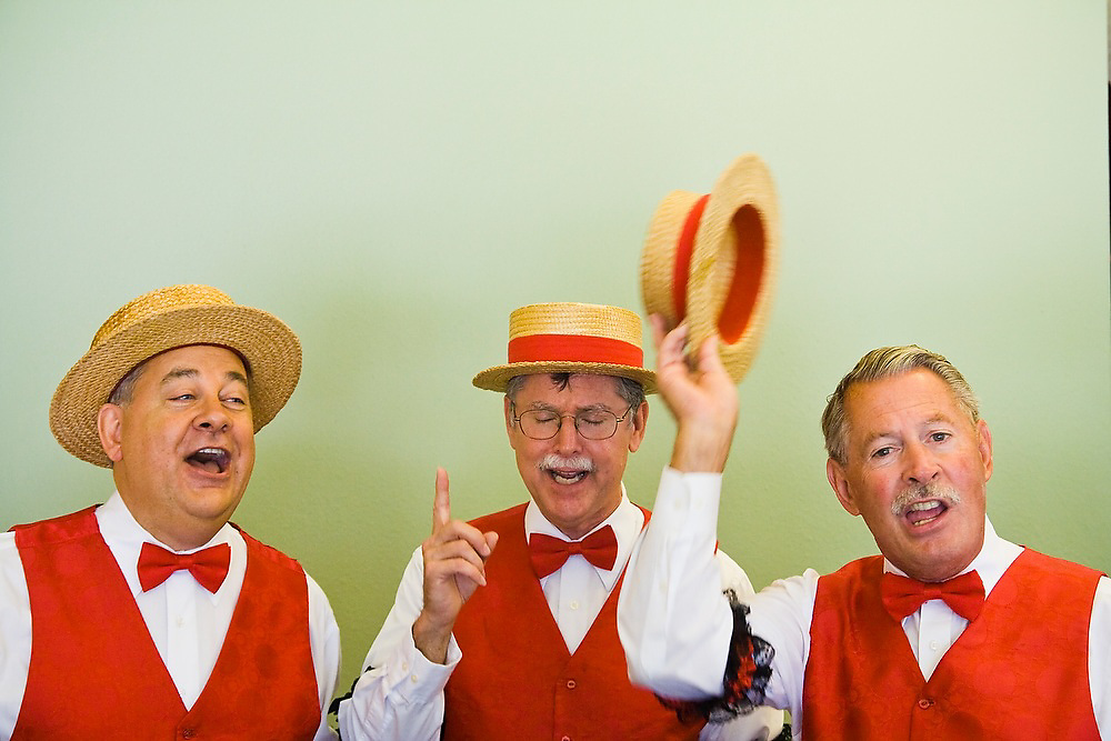 An a capalla group performs at the old-age home Paseo de Valencia in Laguna HIlls, California.