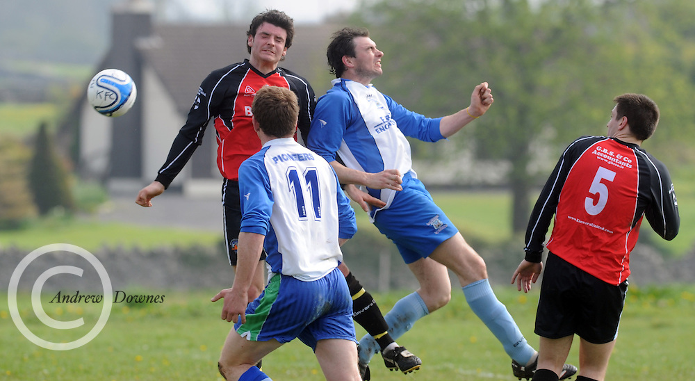 Eamon Cleary Kiltullagh and Conor Kavanagh Kinvara FC in Kiltullagh, Galway. Photo:Andrew Downes