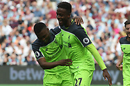 Divock Origi (L) & Daniel Sturridge of Liverpool (R) celebrate after Origi scores his teams fourth goal. Premier league match, West Ham Utd v Liverpool at the London Stadium, Queen Elizabeth Olympic Park in London on Sunday 14th May 2017.<br /> pic by Steffan Bowen, Andrew Orchard sports photography.