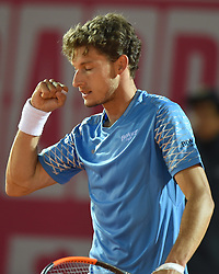 LISBON, May 4, 2018  Spain's Pablo Carreno Busta celebrates his vicotry after the second round match of Estoril Open Tennis tournament against Argentina's Nicolas Kicker in Cascais, near Lisbon, Portugal, May 3, 2018. (Credit Image: © Zhang Liyun/Xinhua via ZUMA Wire)