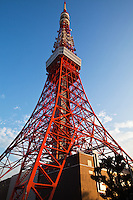 Tokyo Tower is a communications and observation tower located in Shiba Park, Tokyo, with a remarkable likeness to the Eiffel Tower in Paris. At 332 metres (1000 ft), it is the tallest self supporting steel structure in the world and the tallest artificial structure in Japan.  Built in 1958, the tower's main sources of revenue are tourism and antenna leasing.