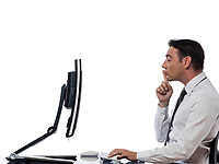 one  caucasian man computing computer display monitor hushing expressing secrecy concept on studio isolated white background
