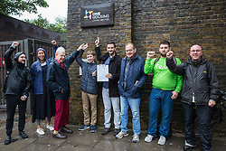 London, UK. 10 June, 2019. Activists from the London Renters Union protest outside the offices of One Housing in Chalk Farm to call on the housing association to withdraw eviction notices issued under s21 Housing Act 1988 against its members living in a 'guardianship home' and for the provision of suitable alternative accommodation. The activists also entered the building to raise the issues directly with One Housing. The London Renters Union is a member-led, campaigning union which takes collective action to ensure that all Londoners have a 'decent, secure and affordable place to call home' and to support members faced with housing problems such as the threat of eviction, disrepair or a stolen deposit. Credit: Mark Kerrison/Alamy Live News