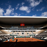 PARIS, FRANCE September 26.  A general view of Novak Djokovic of Serbia and Dominic Thiem of Austria during a practice match on an empty Court Philippe-Chatrier in preparation for the 2020 French Open Tennis Tournament at Roland Garros on September 26th 2020 in Paris, France. (Photo by Tim Clayton/Corbis via Getty Images)