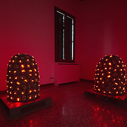 """VENICE, ITALY - JUNE 04:  """"Leds"""" by Tatsuo Miyajima part of """"Personal Structures"""" exhibition on June 4, 2011 in Venice, Italy. The Venice Art Biennale will run from June 4 to November 27, 2011."""
