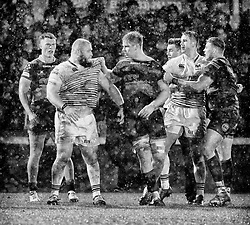 Tempers flare as the players go off for half time<br /> <br /> Photographer Simon King/Replay Images<br /> <br /> Guinness Pro14 Round 12 - Dragons v Cardiff Blues - Sunday 31st December 2017 - Rodney Parade - Newport<br /> <br /> World Copyright © 2017 Replay Images. All rights reserved. info@replayimages.co.uk - http://replayimages.co.uk