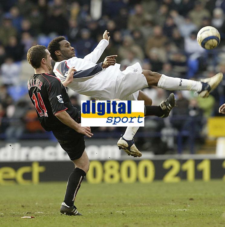Photo: Aidan Ellis.<br /> Bolton Wanderers v Sunderland. The Barclays Premiership. 18/03/2006.<br /> Bolton's Jay Jay Okocha clears dramatically from Sunderland's Tommy Miller