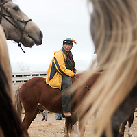 Stanley Perry from Gallup rides in to camp in Standing Rock, ND with fellow horseback riders Tuesday. The riders travelled 280 miles up to Eioga, ND at the start of the Dakota Access Pipeline and back to Standing Rock.
