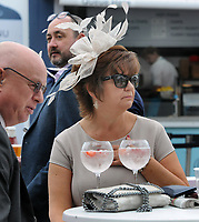 Flat Horse Racing - 2019 Investec Derby Festival - Friday, Day One (Ladies Day)<br /> <br /> Punters at the Prosecco bar with hats at Epsom Racecourse.<br /> <br /> COLORSPORT/ANDREW COWIE