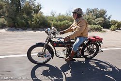 Frank Westfall of New York riding his 4-cylinder 1912 Henderson class-2 bike during the Motorcycle Cannonball Race of the Century. Stage-13 ride from Williams, AZ to Lake Havasu CIty, AZ. USA. Friday September 23, 2016. Photography ©2016 Michael Lichter.