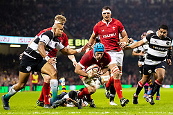 Justin Tipuric of Wales crosses the line only to have the try disallowed<br /> <br /> Photographer Simon King/Replay Images<br /> <br /> Friendly - Wales v Barbarians - Saturday 30th November 2019 - Principality Stadium - Cardiff<br /> <br /> World Copyright © Replay Images . All rights reserved. info@replayimages.co.uk - http://replayimages.co.uk