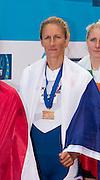 Belgrade, SERBIA,   A Finals Women's single sculls medals. Gold Medalist CZE W1X, Mirka KNAPKOVA at the  2014 FISA European Rowing Championships. Lake Sava. <br /> <br /> <br /> 14:45:29  Sunday  01/06/2014<br /> <br /> [Mandatory Credit; Peter Spurrier/Intersport-images]