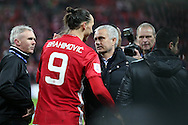 Zlatan Ibrahimovic of Manchester Utd gets a hug from Manchester Utd manager Jose Mourinho at the end of the game.  EFL Cup Final 2017, Manchester Utd v Southampton at Wembley Stadium in London on Sunday 26th February 2017. pic by Andrew Orchard, Andrew Orchard sports photography.