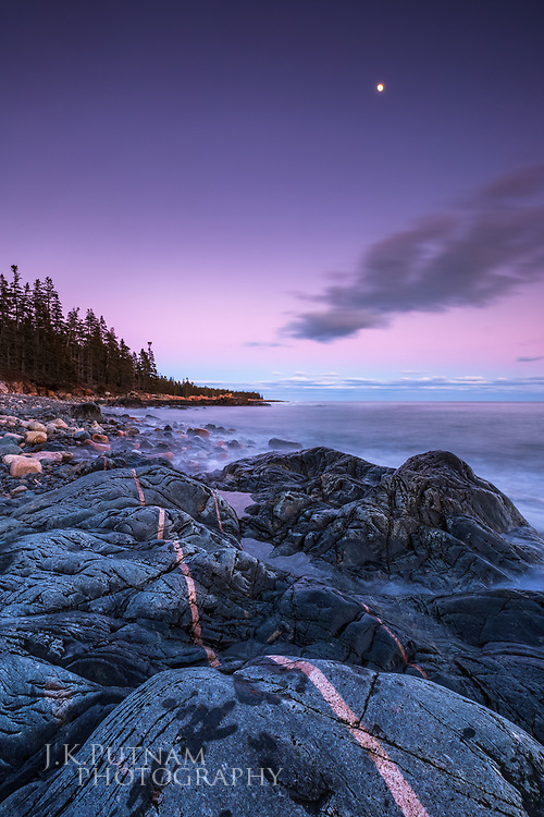 Signs of Acadia's varied geologic history can be found everywhere along the coast or any place with bare, open rock. This intrusion formed after a crack in the bedrock filled with magma. The surf and tides have since smoothed it out. Acadia National Park, Mount Desert Island, Maine.