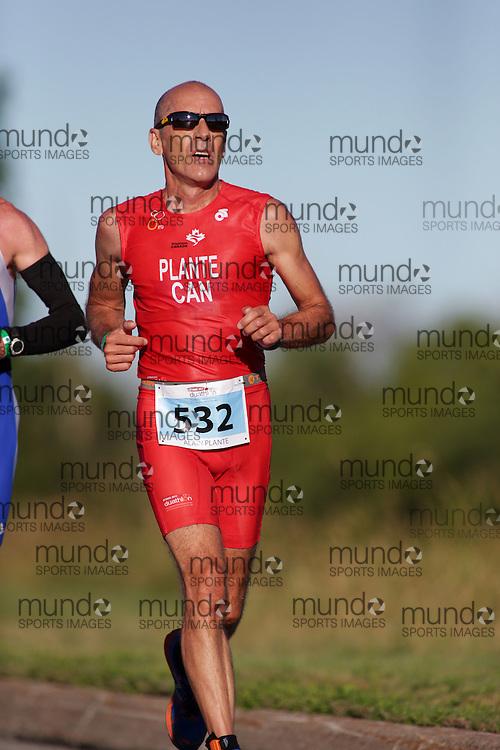 (Ottawa, Canada---10 August 2013)  Alain Plante (532)  of Canada (CAN) competing in the 50-54 Male AG International Triathlon Union 2013 World Duathlon Championships (10 km run- 40 km bike- 5km run).
