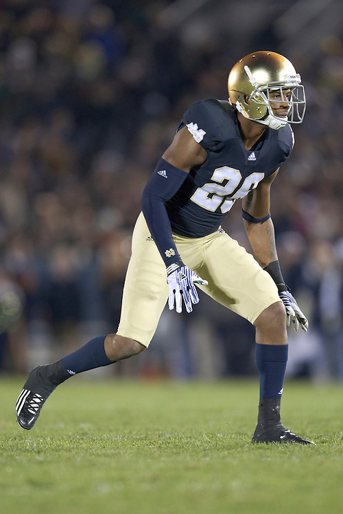 Notre Dame safety Jamoris Slaughter (#26) during second quarter of NCAA football game between Notre Dame and Boston College.  The Notre Dame Fighting Irish defeated the Boston College Eagles 16-14 in game at Notre Dame Stadium in South Bend, Indiana.