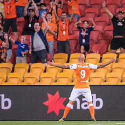 BRISBANE, AUSTRALIA - OCTOBER 13: Massimo Maccarone celebrates scoring a goal during the Round 2 Hyundai A-League match between Brisbane Roar and Adelaide United on October 13, 2017 in Brisbane, Australia. (Photo by Patrick Kearney)