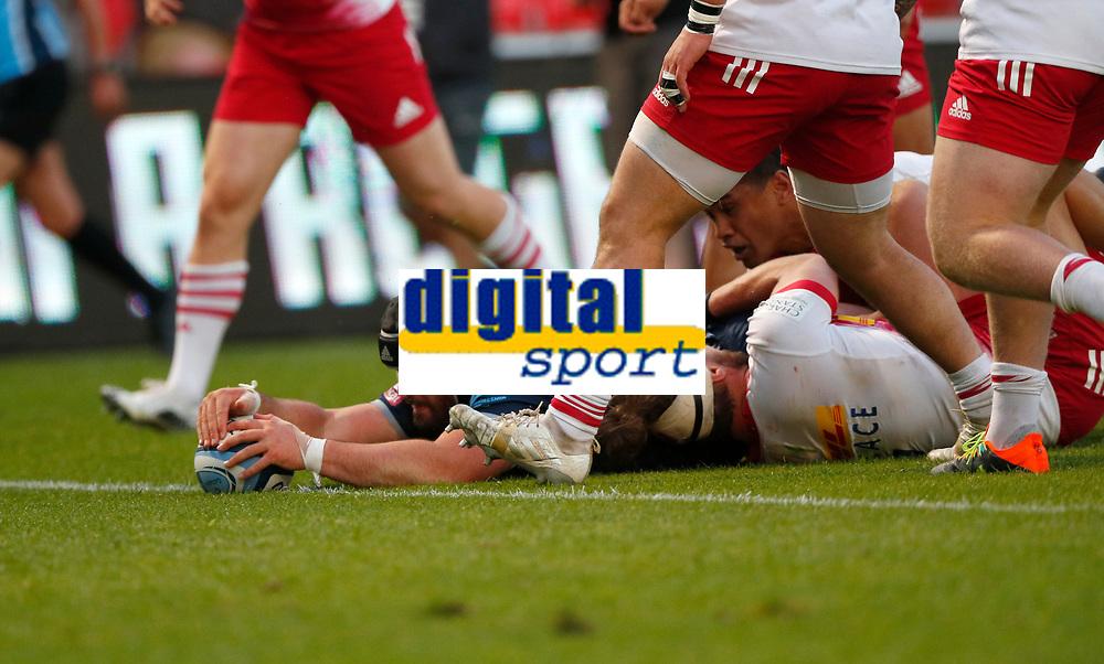 Rugby Union - 2020 / 2021 Gallagher Premiership - Round 21 - Sale Sharks vs Harlequins - A J Bell Stadium<br /> <br /> Bevan Rodd of Sale Sharks scores a try at AJ Bell Stadium<br /> <br /> Credit COLORSPORT/LYNNE CAMERON