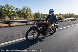 Doug Jones riding his 1914 Indian Model 260 Standard during the Motorcycle Cannonball Race of the Century. Stage-13 ride from Williams, AZ to Lake Havasu CIty, AZ. USA. Friday September 23, 2016. Photography ©2016 Michael Lichter.