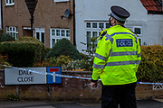 Police guard a crime scene entry by the Dale Close Road, in Barnet, North London on Wednesday, Sept 23, 2020, after several police officers have been injured by a chemical substance while carrying out a drugs raid in north London. (VXP Photo/ Sabrina Merolla)