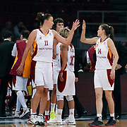 Galatasaray's Ivanka MATIC (L) and Saziye IVEGIN (R) during their woman Euroleague group A matchday 5 Galatasaray between Lotos Gdynia at the Abdi Ipekci Arena in Istanbul at Turkey on Wednesday, November 09 2011. Photo by TURKPIX