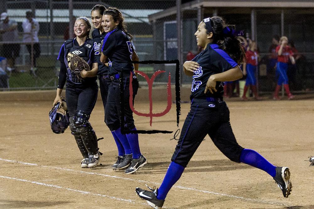 Cedar Ridge softball team celebrates their 2-0 win over Westlake in the Bi-District Playoffs held at Noack Field in Austin.  (LOURDES M SHOAF for Round Rock Leader.)