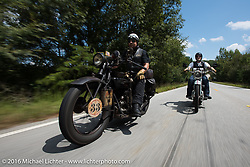 """Andreas """"Andy"""" Kaindl (L) of Southern Germany riding his 1924 Henderson Deluxe with his riding partner and fellow countryman Thomas Trapp (R) on his 1916 Harley-Davidson F during"""