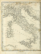 Early 19th century map of Italy Copperplate engraving From the Encyclopaedia Londinensis or, Universal dictionary of arts, sciences, and literature; Volume XI;  Edited by Wilkes, John. Published in London in 1812