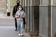Locals are seen wearing facemasks in the CBD during COVID-19. A further 238 Coronavirus cases have been discovered overnight, bringing Victoria's active cases to over 2000, speculation is rising that almost all of Victoria's current cases stem from the Andrews Government botched hotel quarantine scheme as well as the Black Lives Matter protest.  Premier Daniel Andrews warns that Victoria may go to Stage 4 lockdown if these high numbers continue. (Photo be Dave Hewison/ Speed Media)