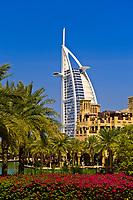 Madinat Jumeirah hotel in foreground and Burj al Arab Hotel in background, Dubai, United Arab Emirates