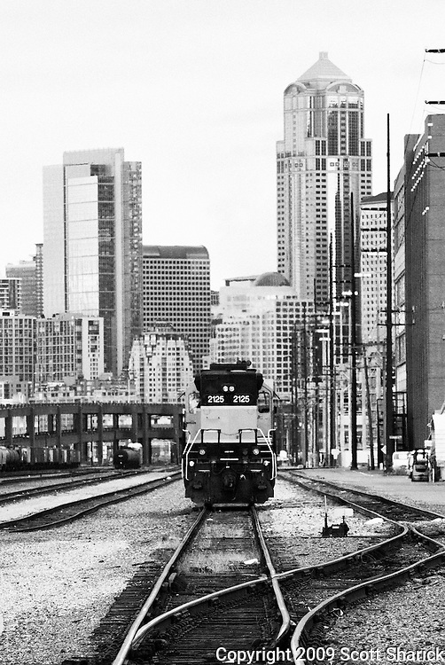 A picture of Seattle showing a train waiting on the tracks with the tall buildings of downtown.