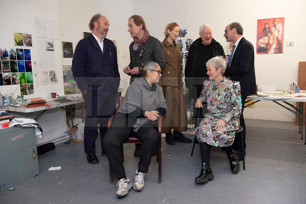 © Licensed to London News Pictures. 22/01/2020. London, UK. Participants including Artist Tacit-a Dean, artist Michael-Craig Martin, actor Julian Sands, actress Tilda Swinton, Stephen Deuchar(Director ofd Art Fund, Alastair Upton, Chief-Executive of Creative Folkstone launch an Art Fund £3.5million public appeal to save Prospect Cottage, the home and garden of the late artist Derek Jarman. Photo credit: Ray Tang/LNP