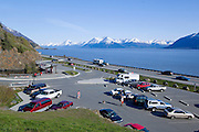Parking lot at McHugh Creek Recreation Area in the Chugach National Forest located along the Seward Highway and Turnagain Arm, near Anchorage