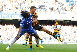 Chelsea's Romelu Lukaku and Hull City's James Chester compete for the ball  - Photo mandatory by-line: Mitchell Gunn/JMP - Tel: Mobile: 07966 386802 18/08/2013 - SPORT - FOOTBALL - Stamford Bridge - London -  Chelsea v Hull City - Barclays Premier League