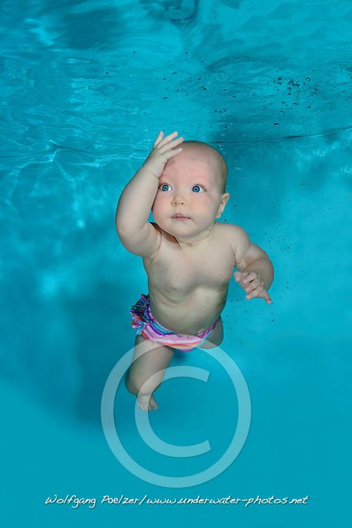 Baby underwater in Pool , diving Baby