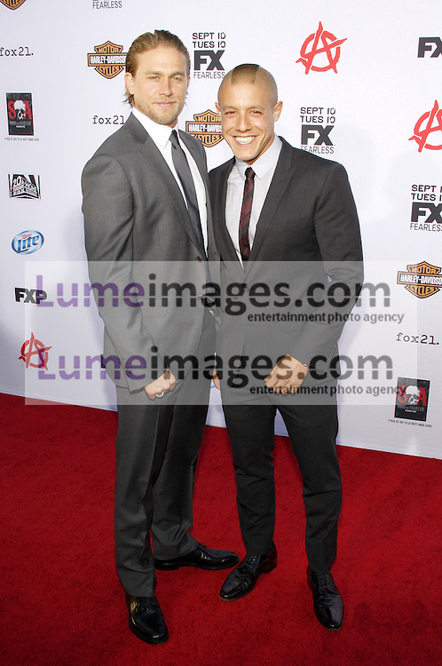 """Charlie Hunnam and Theo Rossi at the FX's Season 6 Premiere Screening of """"Sons Of Anarchy"""" held at the Dolby Theatre in Hollywood, USA on September 7, 2013."""