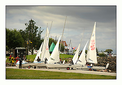 470 Class European Championships Largs - Day 3.Brighter conditions with more wind...Boats leaving Largs Slipway