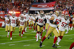 February 2, 2020, Miami Gardens, FL, USA: The San Francisco 49ers run onto the field before playing against the Kansas City Chiefs in Super Bowl LIV at Hard Rock Stadium in Miami Gardens, Fla., on Sunday, Feb. 2, 2020. (Credit Image: © TNS via ZUMA Wire)