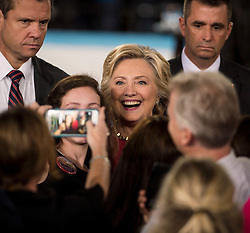 Oct. 04, 2016 - Haverford, PA, U.S. -  HILLARY CLINTON meets supporters and poses for photos after holding a conversation with Delaware County families at the Haverford Community Recreation & Community Center.(Credit Image: © Brian Cahn via ZUMA Wire)