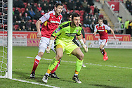 Richard O'Donnell (Rotherham United) stands ready to defend the near post as Blackburn attacker runs into the box during the EFL Sky Bet Championship match between Rotherham United and Blackburn Rovers at the AESSEAL New York Stadium, Rotherham, England on 11 February 2017. Photo by Mark P Doherty.
