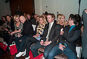 RENEE O'BRIEN; ROSS KEMP; CHARLOTTE TAYLOR; BAND MEMBERS OF BLAKE; HUMPHREY BERNEY; JULES KNIGHT;  NANCY SORRELL; ( BEHIND) , Stephane St. Jaymes Spring Summer 2011 fashion show.<br /> The Westbury Mayfair, Bond Street, London,DO NOT ARCHIVE-© Copyright Photograph by Dafydd Jones. 248 Clapham Rd. London SW9 0PZ. Tel 0207 820 0771. www.dafjones.com.