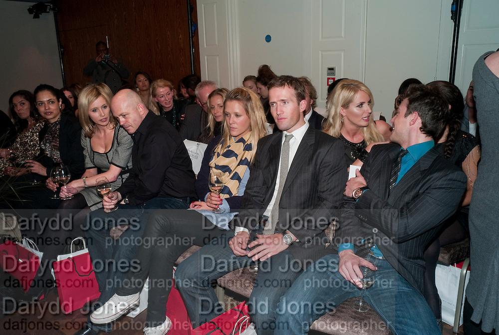 RENEE O'BRIEN; ROSS KEMP; CHARLOTTE TAYLOR; BAND MEMBERS OF BLAKE; HUMPHREY BERNEY; JULES KNIGHT;  NANCY SORRELL; ( BEHIND) , Stephane St. Jaymes Spring Summer 2011 fashion show.<br /> The Westbury Mayfair, Bond Street, London,DO NOT ARCHIVE-© Copyright Photograph by Dafydd Jones. 248 Clapham Rd. London SW9 0PZ. Tel 0207 820 0771. www.dafjones.com.