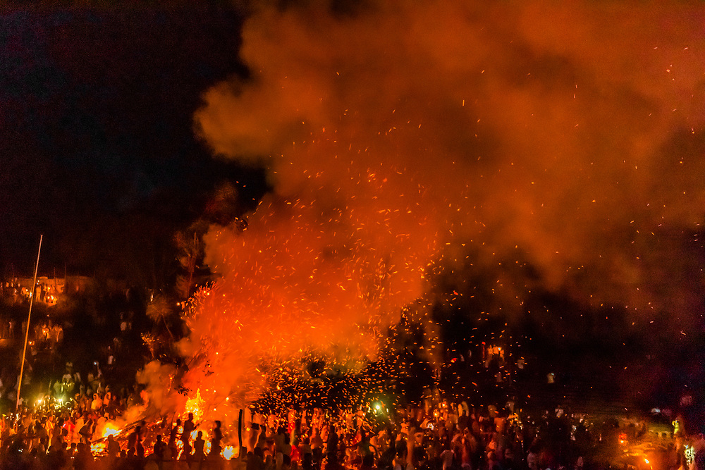 The large bonfire, or Demera during the celebration of Meskel, an annual religious holiday of the Ethiopian Orthodox Church which commemorates the discovery of the True Cross by the Roman Empress Helena in the fourth century. Arba Minch, Ethiopia.