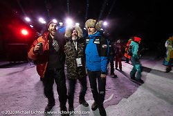 (L>R) Sean Lichter, Bertrand Dubet and Frederic Billon at the wrap dance party on the lake after the Baikal Mile Ice Speed Festival. Maksimiha, Siberia, Russia. Saturday, February 29, 2020. Photography ©2020 Michael Lichter.