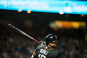 San Francisco Giants third baseman Eduardo Nunez (10) swings at a Oakland Athletics pitch at AT&T Park in San Francisco, California, on March 30, 2017. (Stan Olszewski/Special to S.F. Examiner)