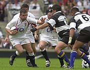 Twickenham. England. RFU Stadium, Surrey. <br /> Photo Peter Spurrier25/05/2003<br /> 2003 - Rugby - England v Barbarians.<br /> Mark Regan running with ball         [Mandatory Credit: Peter SPURRIER/Intersport Images]