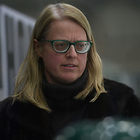 Regina Cougars Head Coach Sarah Hodges in action during the Women's Hockey home game on February 9 at Co-operators arena. Credit: Arthur Ward/Arthur Images