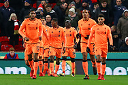Sadio Mane of Liverpool (c no19) celebrates with his teammates after scoring his teams 1st goal. Premier league match, Stoke City v Liverpool at the Bet365 Stadium in Stoke on Trent, Staffs on Wednesday 29th November 2017.<br /> pic by Chris Stading, Andrew Orchard sports photography.
