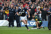 15.02.2015. Edinburgh. RBS 6 Nations 2015 Scotland v Wales. Scotland's Stuart Hogg on a try charge with the ball. from Murrayfield Stadium, Edinburgh.